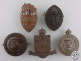 Five Second War Canadian University Contingent C.O.T.C. Cap Badges