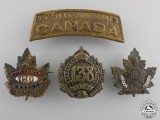 Four First War Canadian Badges