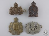 Four First War Canadian Collar Badges