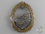 A Early Quality Manufacture Kriegsmarine Destroyer War Badge by Schwerin of Berlin