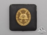 A Gold Grade Second War Wound Badge in its LDO Case of Issue