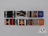 Six First and Second War German Medal Ribbon Bars and Boutonnieres