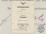 An Observers Badge Document to Obergefreiten Wilhelm Dietrich