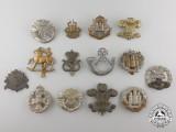Fourteen First & Second War British Cap Badges