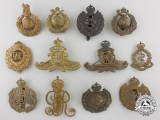 Twelve First & Second War British Cap Badges