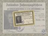 A 1944 -1945 Third Reich German Hunting Permit to Mr. Hermann Wanner of Vienna