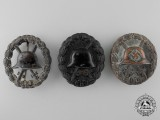 Three German Black Wound Badges