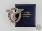 A Fine Early Quality Luftwaffe Pilot's Badge by O.M. in its Case of Issue