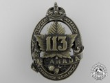 A First War 113th Infantry Battalion Cap Badge CEF