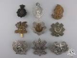 Nine First War British Cap Badges