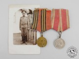 Imperial Russia. An Army Pair of Medals with Recipient Photograph