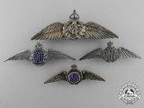 Four Second War Royal Canadian Air Force (RCAF) Sweetheart Wings