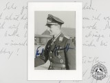 A Post War Signed Photograph of Knight's Cross Recipient; Karl-Ludwig Johanssen