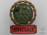 A Rome Official's XVII Summer Olympic Games Badge 1960