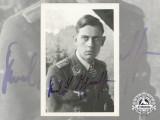 A Post War Signed Photograph of Knight's Cross Recipient; Karl-Ludwig Johanssen