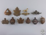 Ten First War Canadian Collar Badges