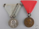 Two Bulgarian Tsar Ferdinand I Medals for Merit