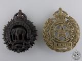 Two Second War Indian Cap Badges