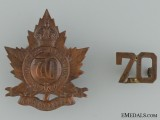 WWI 70th Infantry Battalion Cap Badge and Collar Insignia