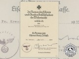An Award Document for Clasp to Iron Cross 1939 to Hauptmann Heinrich Reinecke, Inf.Rgt.74