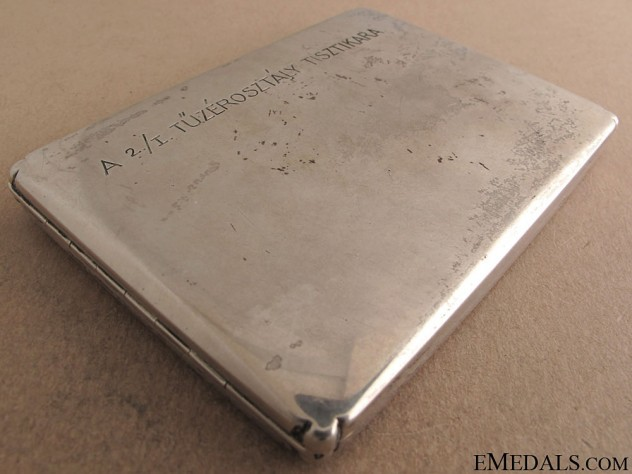 Silver Hungarian Cigarette Case with Dedication