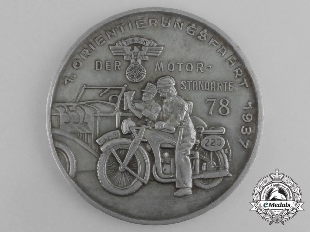 A 1937 NSKK Motor Standarte 78 7th Reconnaissance Cruise Table Medal; Marked
