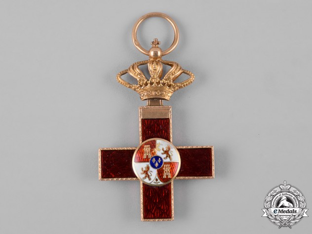 Spain, Kingdom. An Order of Military Merit in Gold, I Class Cross with Red Distinction, c.1900