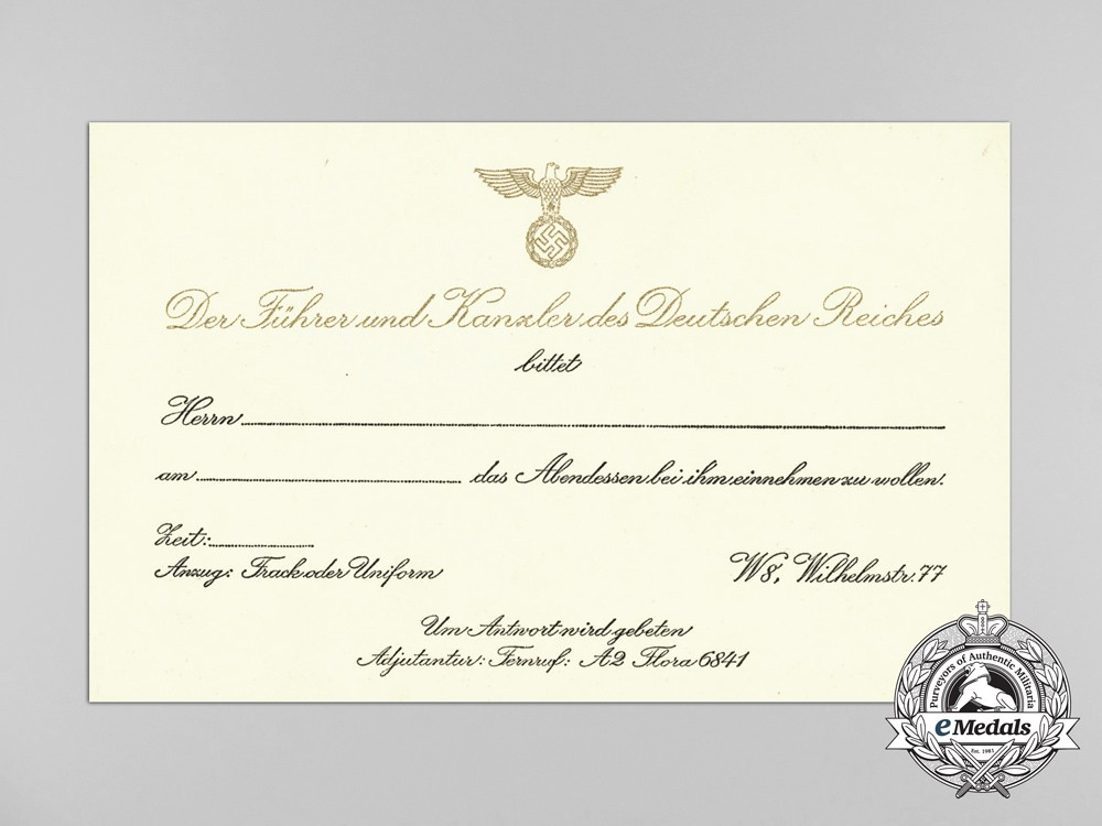 A formal invitation rsvp card to dinner with ah at the reich a formal invitation rsvp card to dinner with ah at the reich chancellery stopboris Image collections