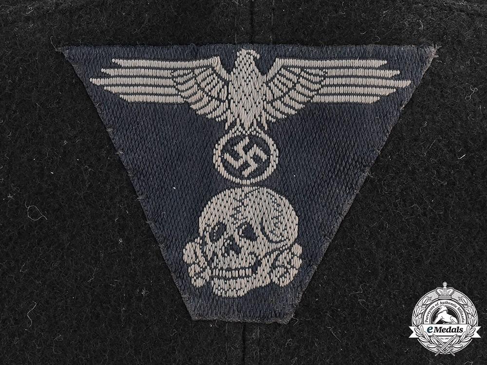 Ww2 German Police M43 Hat Badge: Germany, Waffen-SS. A Cut-Off SS Panzer EM/NCO's M43 Field